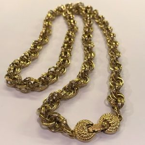 Vintage Monet Chunky Gold Rope Necklace